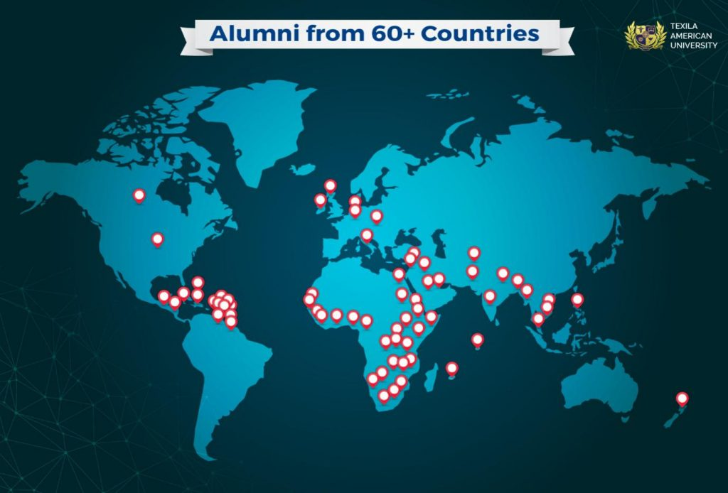 Country pointing of Texila Alumni presence